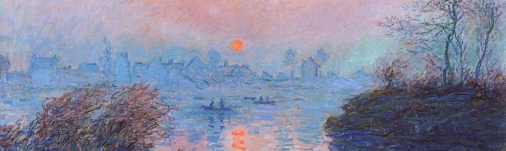 sunset painting in oils by Claude Monet