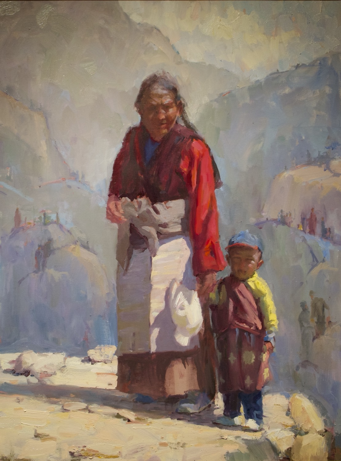 "Cat. No. 976 Just Grandma and Me, Shoton Festival, Tibet 40""x30"", Oil on Canvas 2013 1500"